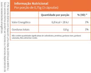 informação nutricional do óleo de alho da Pharmacêutica