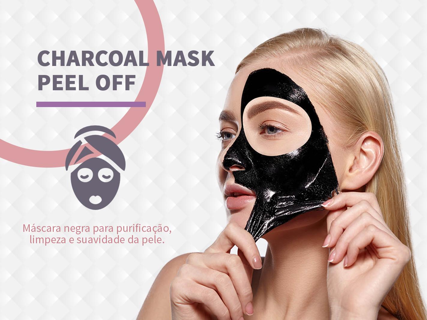 Charcoal Mask Peel Off é uma máscara mitificante que absorve excesso de óleo, impurezas e poluentes da pele