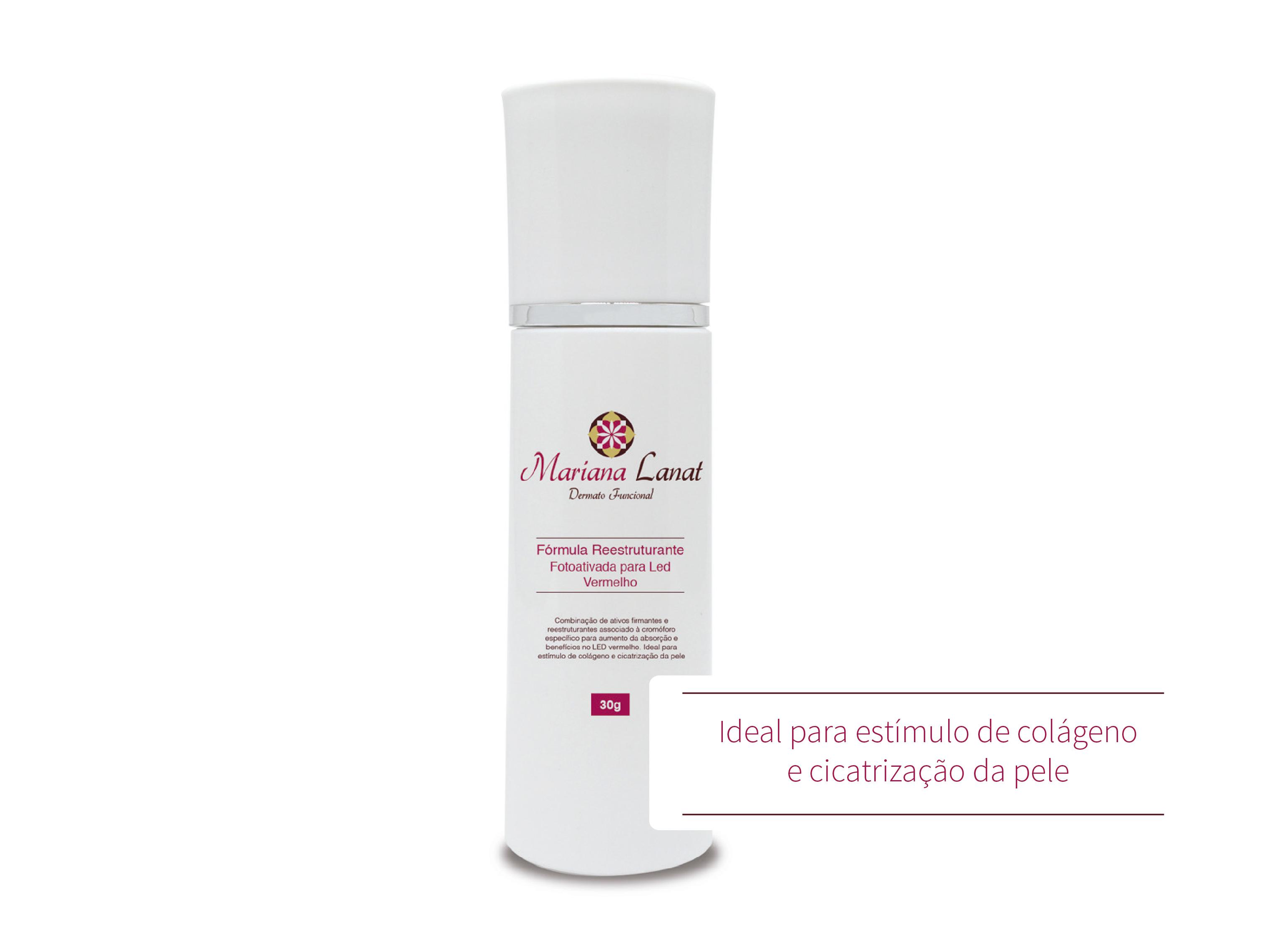 Combinação de ativos firmantes e reestruturantes associado à cromóforo específico para aumento da absorção e benefícios no LED vermelho. Ideal para estímulo de colágeno e cicatrização da pele.