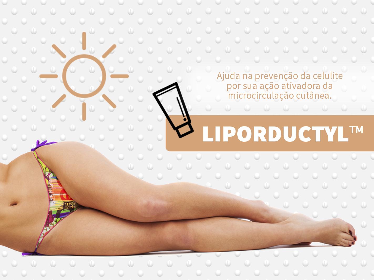 Liporeductyl éum ativo lipossomado com ações combinadas e sinérgicas para combater a celulite