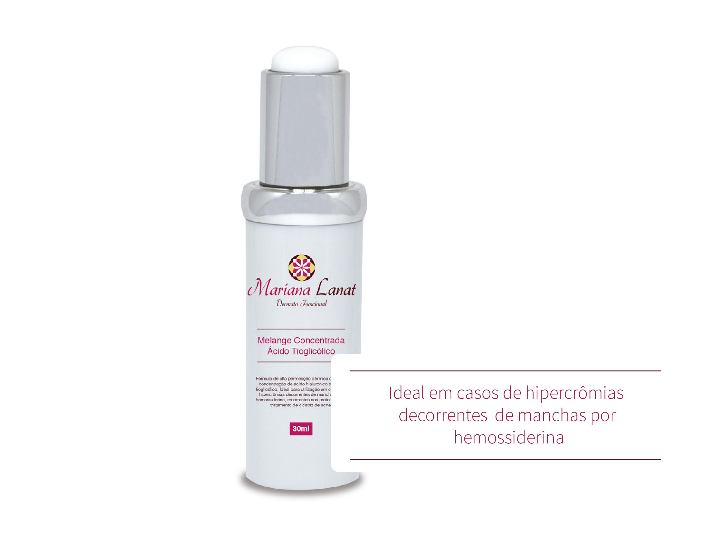 dérmica com alta concentração de ácido hialurônico e ácido tioglicólico. Ideal para utilização em casos de hipercrômias decorrentes de manchas por hemossiderina, recorrentes nos protocolos de tratamento de cicatriz de acne.