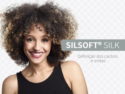 Silsoft® Silk– para fios cacheados, o ativo é uma microemulsão de silicone que promove uma maior definição e retenção dos cachos